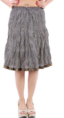 Desert Eshop Printed Women's A-line Black Skirt