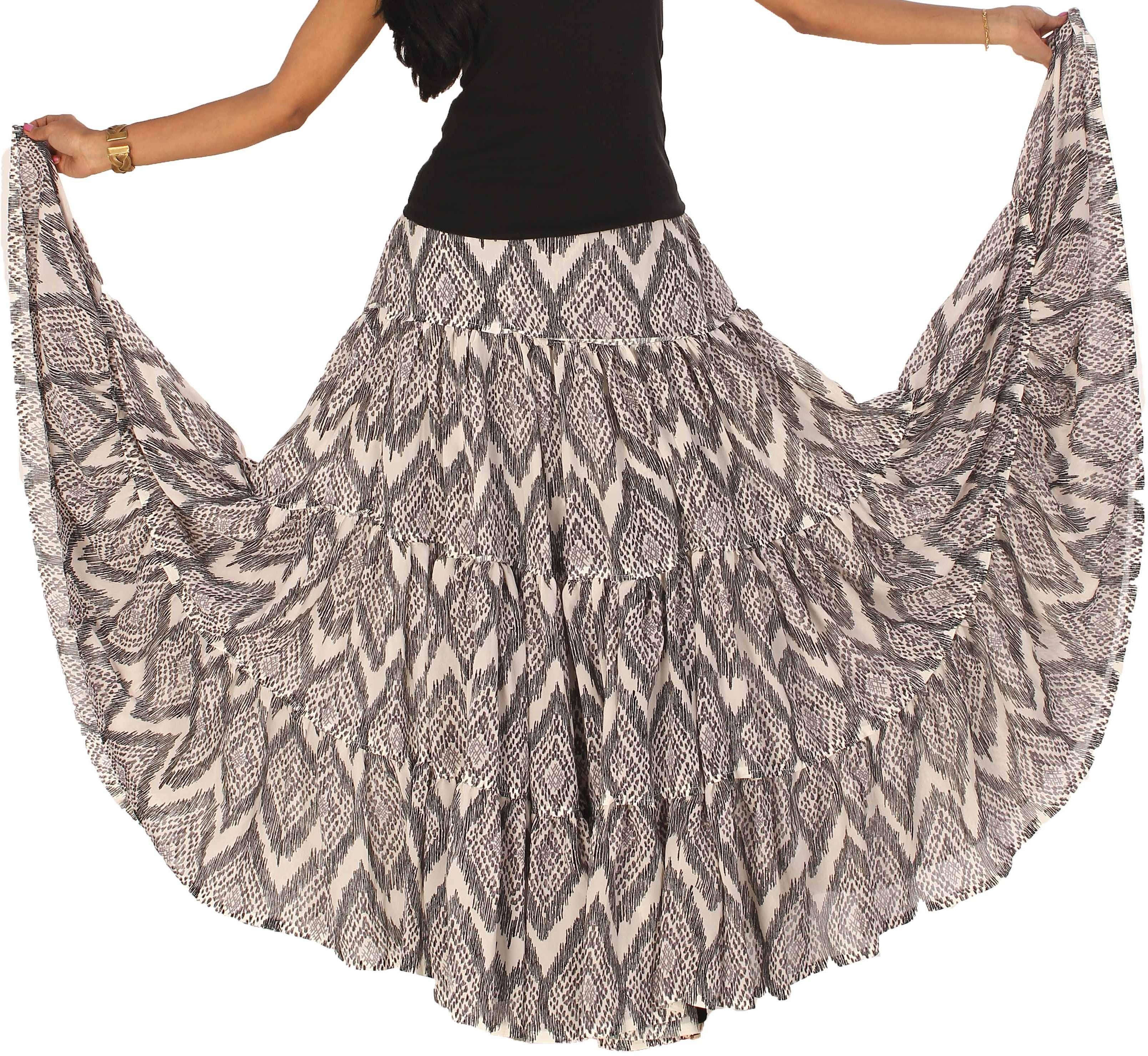 Yaari Self Design Womens Regular White, Black Skirt