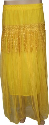 Sarva Solid Women's Regular Yellow Skirt