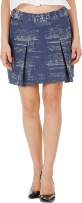Fuziv Printed Women's Pleated Blue Skirt