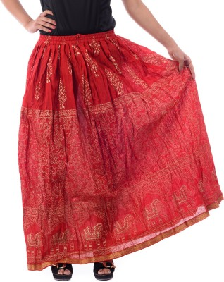 Patterns Lets Create Printed Women's Gathered Red Skirt