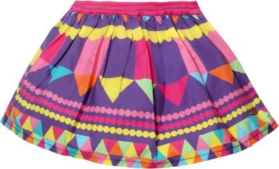 VITAMINS Graphic Print Girl's A-line Purple Skirt