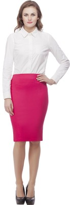 Purple Feather Solid Women's Pencil Pink Skirt