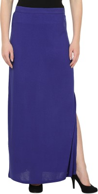 United Colors of Benetton Solid Women's Straight Blue Skirt