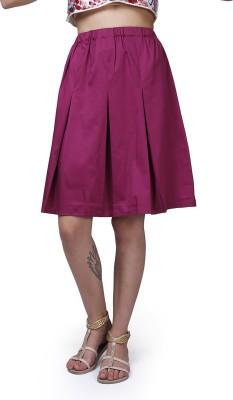 GarrB Solid Women's Pleated Purple Skirt