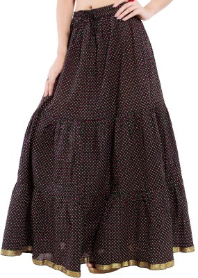 Decot Paradise Polka Print Women's Regular Black Skirt