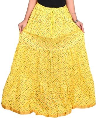Decot Paradise Polka Print Women's Regular Yellow Skirt