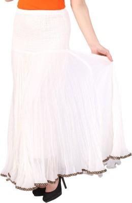 Grand Store Solid Women's Gathered White Skirt