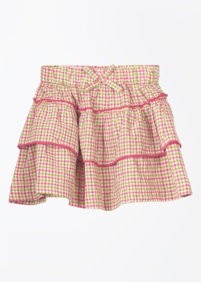 Cherokee Checkered Girl's A-line White, Green, Pink Skirt