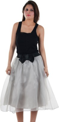 Gwyn Lingerie Solid Women's Gathered Grey Skirt