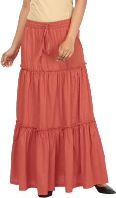 Pops N Pearls Solid Women's Broomstick Orange Skirt