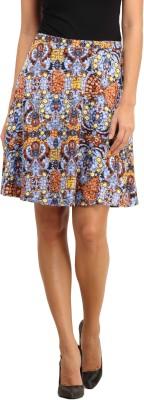 My Addiction Printed Women's Regular Blue Skirt