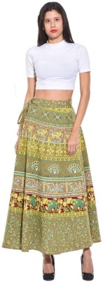 Saffron Craft Animal Print Women's Wrap Around Green Skirt