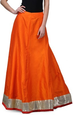 Just Wow Solid Women's A-line Orange Skirt