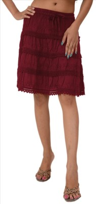 Skirts & Scarves Embroidered Women's A-line Maroon Skirt