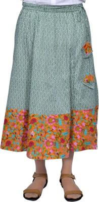 Chidiyadesigns Printed Women's A-line Green, Orange Skirt