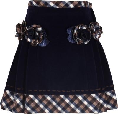 Cutecumber Checkered Girl's A-line Blue Skirt