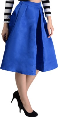 Pink Lace Solid Women,s Pleated Blue Skirt