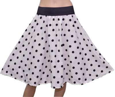 GraceDiva Polka Print Women's Gathered Black Skirt