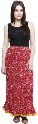 Pistaa Floral Print Women's A-line Red Skirt