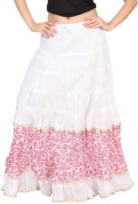 Carrel Printed Women's Broomstick White, Pink Skirt