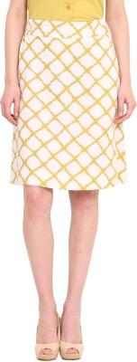 Saiesta Woven Women's A-line White Skirt