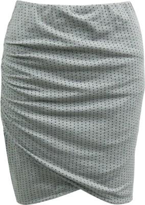 Abstract Mood Printed Girl's Regular Grey Skirt