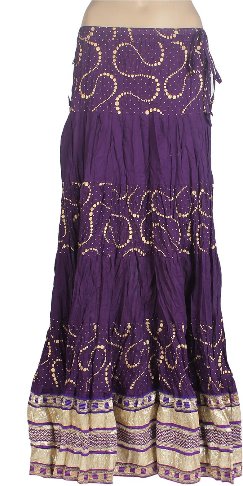 Mina Bazaar Printed Womens A-line Purple Skirt