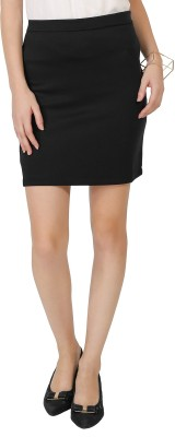 Chimpaaanzee Solid Women's Pencil Black Skirt