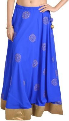 9Rasa Solid Womens Broomstick Blue, Gold Skirt