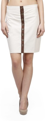 Glam and Luxe Solid Women's Pencil Beige Skirt