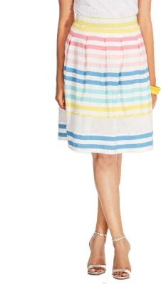 Young Trendz Striped Women's Pleated Multicolor Skirt