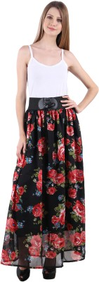 Raabta Fashion Printed Women's A-line Black, Multicolor Skirt