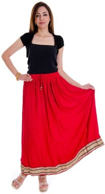 rebella Solid Women's A-line Red Skirt