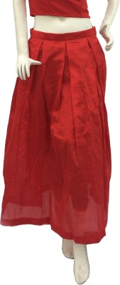 Jupi Solid Women,s Pleated Red Skirt