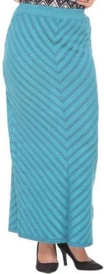 Colors & Blends Striped, Self Design Women's Tube Blue Skirt