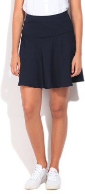 United Colors of Benetton Solid Women's A-line Dark Blue Skirt