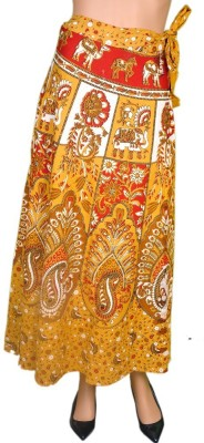 Craftghar Printed Women's Wrap Around Yellow, White Skirt