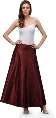 A Click Away Solid Women's A-line Maroon Skirt