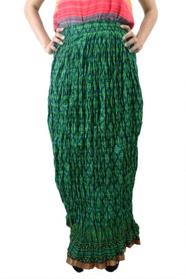 ShopMore Printed Women's Regular Green Skirt