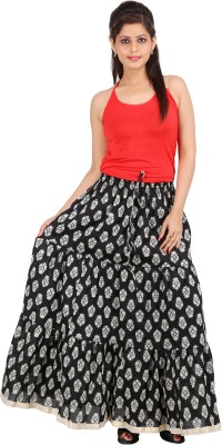 Ceil Printed Women's Gathered Black Skirt