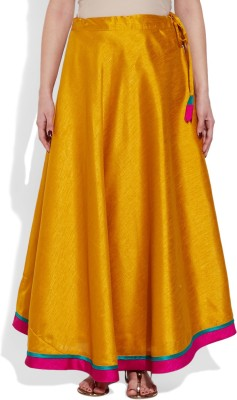 Very Me Solid Women's A-line Yellow Skirt