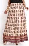 Aaboli Printed Women's A-line Beige Skir...