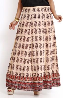 Aaboli Printed Women's A-line Beige Skirt