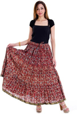 Ceil Self Design Women's Regular Multicolor Skirt