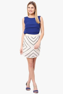 The Vanca Printed Women's A-line White Skirt