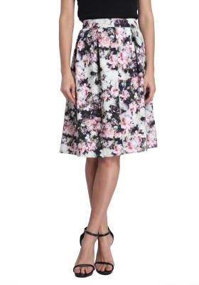 Vero Moda Floral Print Women's Gathered White, Black Skirt at flipkart