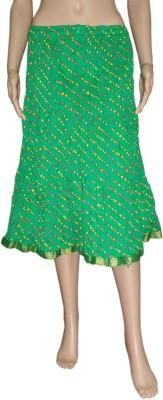 Pinkcityvilla Printed Women's Broomstick Green Skirt