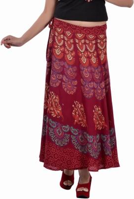 Indi Bargain Animal Print Women's Wrap Around Maroon Skirt