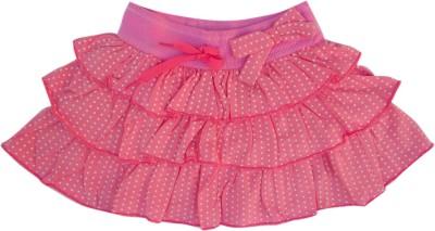Garlynn Polka Print Girl's Layered Pink Skirt